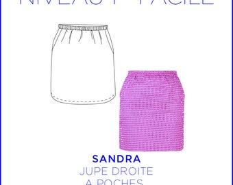 Pattern - Skirt Sandra, straight skirt, pockets, full size from 36 to 44 pattern