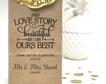 Personalised Stand Kraft Paper Lolly Bags Wedding Favour Bonbonniere Gift Bag – Every Love Story