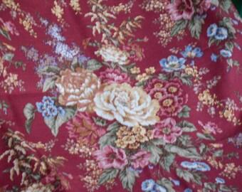 Vintage Fabric Upholstery Fabric Retro 1990's  Portfolio Textiles Inc. Teflon Deep Color Floral Fabric