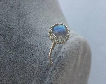 Labradorite Ring, Silver Labradorite Ring, Blue Gemstone Ring, Wire wrapped Ring, bridesmaid gift, wedding gift, birthday gift, gift for her