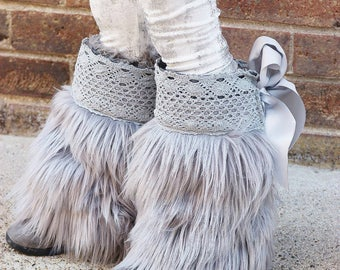 Heather Boot Cuffs//Pink PomPon ... Fur boot cuffs, gray boot cuffs, gray boot covers, toddler fur boots, baby fur boots, girls fur boots