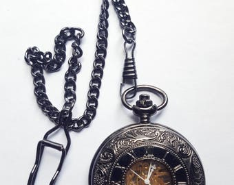 Pocket Watch chain + black steampunk mechanical