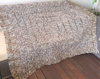 Handmade Crochet Blanket,Throw, Afghan, lounge gift, bedding gift, Brown white grey blanket, warm, housewarming gift, Etsy Australia