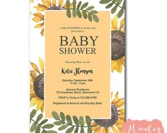 FREE SHIPPING - SUNFLOWER Baby Shower Invitation, Baby Shower Invitation Sunflower, Sunshine Baby Shower Invitation