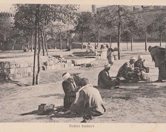FREE POST - Old Postcard - EGYPT Egyptian Barbers  - Vintage Postcard - Unused