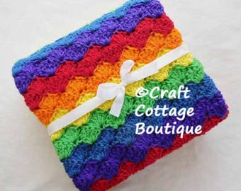 Crochet Baby Blanket - Travel / Car Seat / Stroller / Crib - Rainbow Baby - You Pick the Edging Color Red Orange Yellow Green Blue Purple