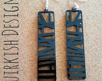 Black Acrylic Abstract Earrings