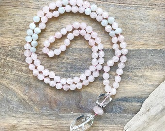 Faceted Rose Quartz  and Moonstone Mala Necklace /108 mala Beads /Long Beaded Necklace /Yoga Gifts /Gifts for Wife /Stocking Stuffers