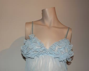 sheer blue ruffled nightie