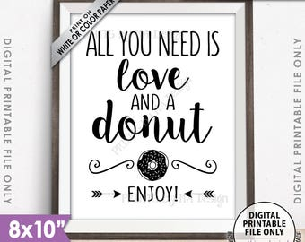 """All You Need is Love and a Donut Sign, Bridal Brunch Doughnut Wedding Sign Wedding Breakfast Bridal Shower, 8x10"""" Printable Instant Download"""