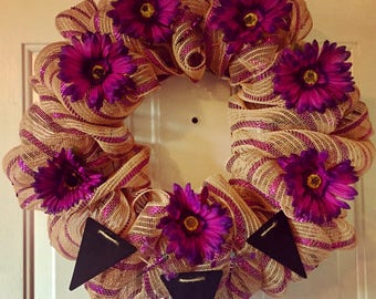 Wreath with chalkboard banner