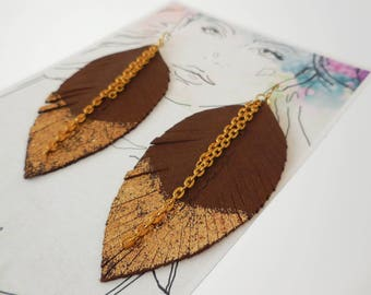 Choc Brown Leather Feather Earrings, Dipped in Gold, Feather Earring, Festival Accessories, Brown Feather Earrings, Bohemian, Brown Leather