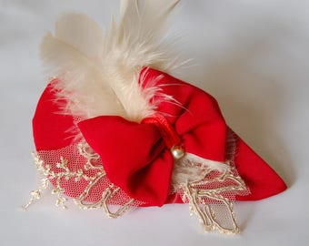 Hat Red and ecru lace, romantic and chic headpiece for ceremony