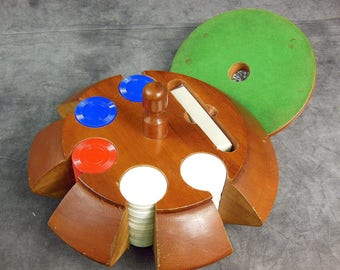 Poker Chips In Wooden Holder With Cover