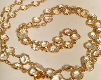 Gold Crystal Long Necklace