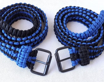 Blue black cobra knot belt paracord 550 mens belt black Boyfriend gift father  Blue belt Fashion accessories him belt woven adjustable belt