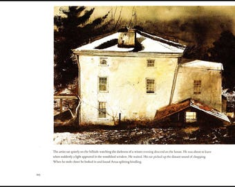"Lamplight painted in 1975 by Andrew Wyeth. The page is approx. 13 inches wide and 10 inches tall. the image is 10.25"" wide and 7.5"" tall."