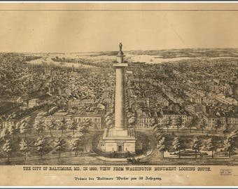 Baltimore, Maryland Panoramic map from 1880.  This print is a wonderful wall decoration for Den, Office, Man Cave or any wall seeking decor.