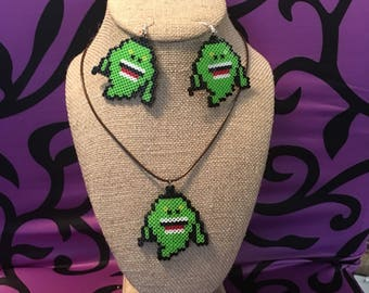 Inspired ghostbusters slimer earrings and necklace set