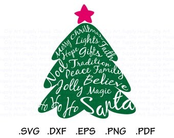 Christmas Tree Clipart, Winter Christmas Wall Art, Tree SVG File, Word Cloud Tree SVG, Screen Printing, Silhouette, Die Cut Machines - CA472