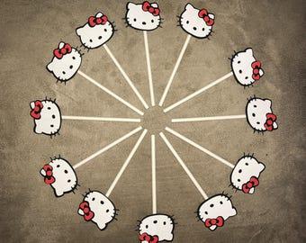 Hello Kitty cupcake topper - Hello Kitty party - Cupcake toppers Hello Kitty - Hello Kitty cake topper