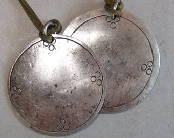 Two Tibetan Buddhist Iron Mirror Amulets Pendants from Nepal, Ethnic Folk Jewelry, FREE SHIPPING