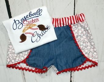 Girls Baseball Sister Shirt- Baseball Shirt- Baseball Tiara- Toddler Girl- Baseball Shorts- Baby Girl-6m, 12m, 18m, 2t, 3t, 4, 5, 6 8