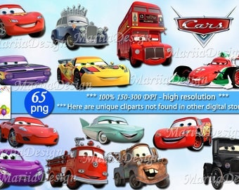 65 Cars Clipart - 65 PNG, 300 Dpi, Cars png, Cars clip art, Cars Instant download,Cars transparent, Disney Cars,McQueen Clipart - ONLY FILES