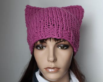 Cats, Cap, old pink, yellow, green, beanie, Knit Beanie, Womens wool CAP, pussy,