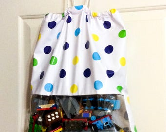 Oilcloth Storage Bag With See-Through Pocket-Drawstrings For Closure-Easy Hang-Kid Friendly-Store Anything-Waterproof-Wipe Clean Damp Cloth