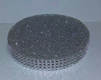 """Set of 5 Centerpiece Bases (5"""") - Silver Bling - Wedding  Quinceanera Candy Buffet"""