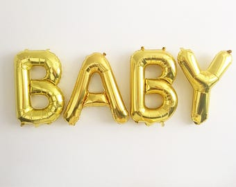Baby Gold Letter Balloons Gold Baby Banner Gold Balloons Baby Shower Balloons Pregnancy Announcement Gender Reveal Balloons Baby Balloons