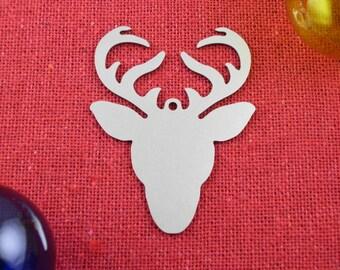 Deer Head and Antlers Christmas Ornament, Stainless Steel, Christmas Ornaments, Christmas Decoration Tree Ornament Christmas Decor, Ornament