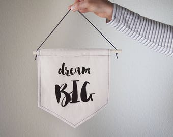 Hanging canvas wall banner-dream BIG,Canvas,Wall Art,Home decor,Office Decor
