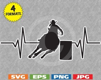 Heartbeat - Female Barrel Racer Image - svg die cut cutting file PLUS eps/vector, jpg, png - 300dpi