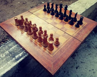 Very Big Chess and backgammon , Full Set, Vintage Bulgaria Chess, Wooden Chess Board, Table Game Wood Chess Set.