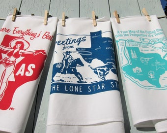 "Retro Inspired Texas Tea Towels, Gift Set of Three, Special Edition 17"" x 38 """