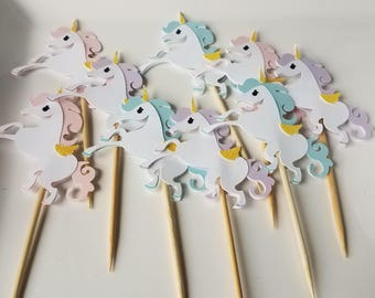 12 Unicorn Cupcake Toppers, Unicorn Birthday Party, Birthday Party, Unicorn Baby Shower, Unicorn Party