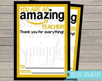 PRINTABLE Amazon Gift Card Holder, Thank You for being an Amazing Teacher Gift, End of the Year Teacher Gift, Teacher Appreciation Printable