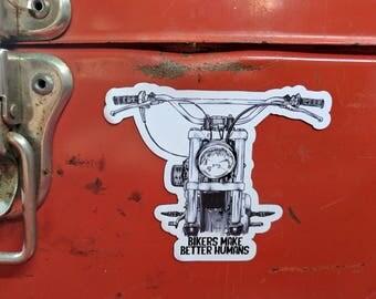 Motorcycle Fridge Magnet | High Quality Vinyl Motorcycle Magnet | Bobber Portrait lllustration