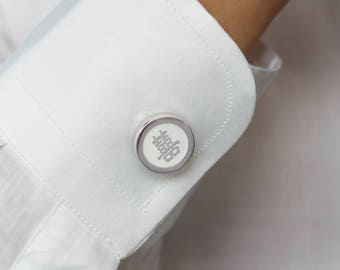Double Happiness Button Cover Cufflinks, Shuang Xi Button Cover Cufflinks