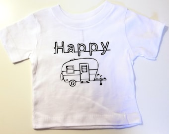 Happy Camper Kid's Shirt, Cute Kid's Shirt, Camping Kid's Shirt, Outdoors Kid's Shirt, Retro Camper Kid's Shirt, Kid's Vacation Shirt