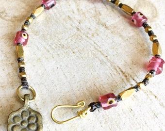 Brass evil eye beaded bracelet, pink evil eye bracelet, ethnic look beaded bracelet, flower beaded bracelet