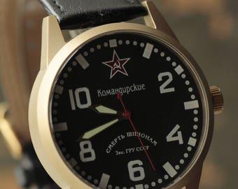 "RAKETA ""Komandirskie"" mechanical soviet men's wrist watch 2609.NA /R-50K"