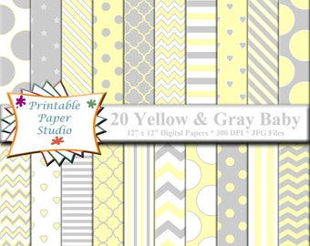 Yellow, White & Gray Baby Shower Digital Paper Pack, Baby Digital Paper, Yellow Scrapbook Paper for Cardmaking, Baby Shower Paper Download