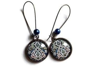 bronze ethnic earrings * Casablanca * blue Moroccan Eastern mosaic tiles, glass cabochon