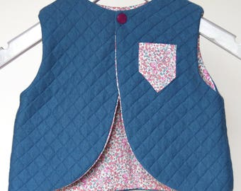 Shepherd quilted vest and Liberty 6-9 months