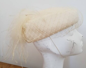 Vintage hat - pillbox hat with partial veil feather detail - formal hat - dapper day