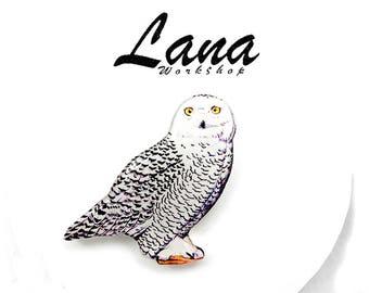 Owl brooch, Snowy owl brooch, owl jewelry, owl clay, owl pin, White Owl, clay bird, bird jewelry
