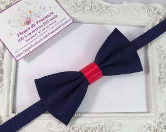 Bow tie Navy Blue and Red Satin man